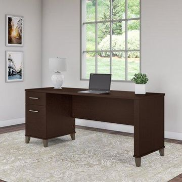 Bush Furniture Somerset 72W Office Desk with Drawers in Mocha Cherry