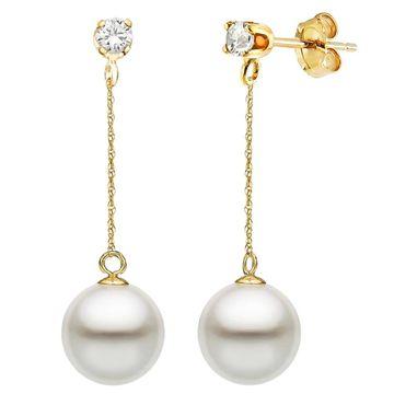DaVonna 14K Gold 1/10cttw Diamond White Freshwater Pearl Stud Dangle Earrings (10-10.5 mm - 10-10.5 MM)