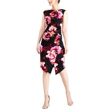 SL Fashions Womens Floral Print Office Wear to Work Dress
