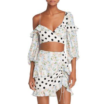 For Love & Lemons Womens Polka Dot Cold Shoulder Crop Top