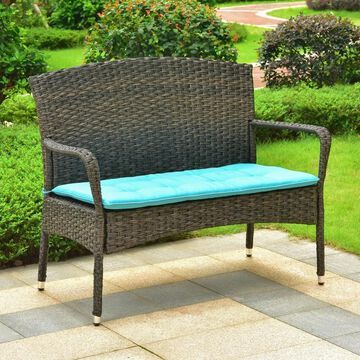 International Caravan Majorca Resin Wicker Patio Sofa with Cushion