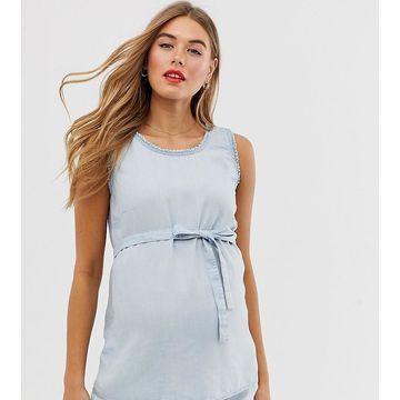 Mamalicious maternity sleeveless denim top-Blue