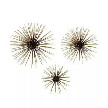 Stratton Home Decor Starburst 3D Metal 10-Inch x 10-Inch Wall Art in Black/Gold (Set of 3)