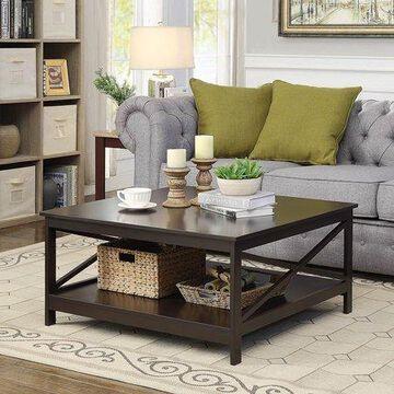 """Convenience Concepts Oxford 36"""" Square Coffee Table, Espresso"""