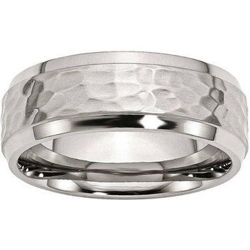 Primal Steel Stainless Steel Beveled Edge 8mm Hammered and Polished Band, Available in Multiple Sizes