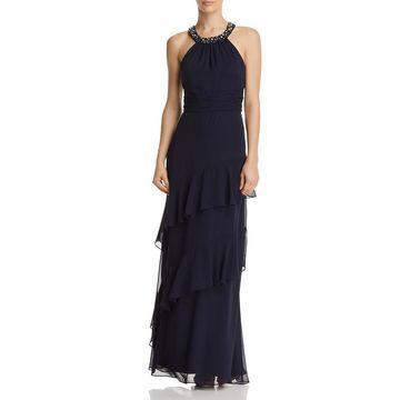 Eliza J Womens Embellished Halter Formal Dress