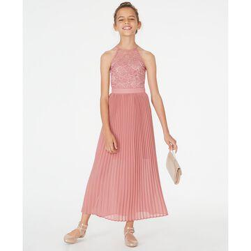 Big Girls Pleated Lace Maxi Dress