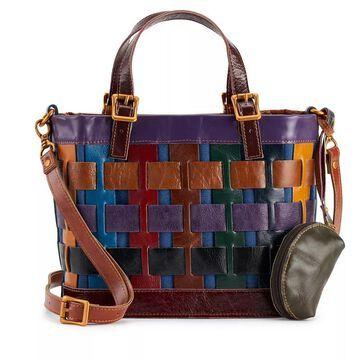 AmeriLeather Dorgon Leather Rainbow Basket Handbag, Multicolor