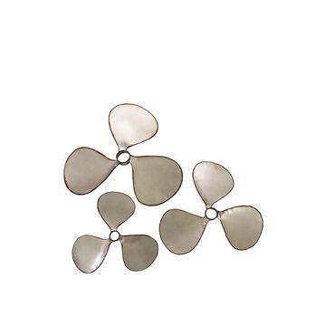 IMAX 47253-3 Pelham Propeller Wall Decor Set of 3 Silver