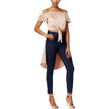 Material Girl Womens Satin Knit Blouse