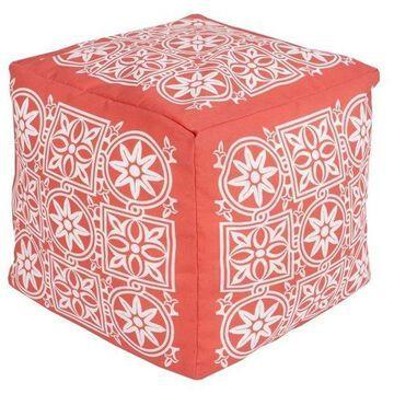 Surya Cube Pouf Ottoman, Coral