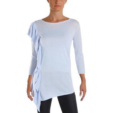 Foxcroft Womens Isabella Sheer Side Ruffle Pullover Top