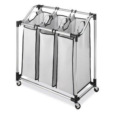 Whitmor Rolling Laundry Sorter with Foam Mesh Bags - Chrome & Gray - 16