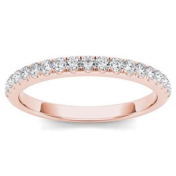 De Couer IGI Certified 10k Rose Gold 1/4ct TDW Wedding Band (Size 8)