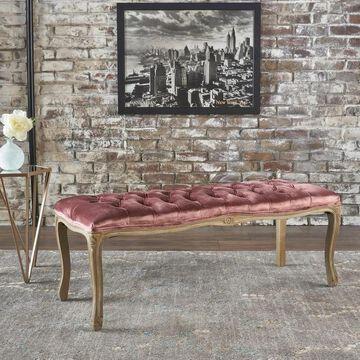 Tassia Tufted Velvet Bench by Christopher Knight Home