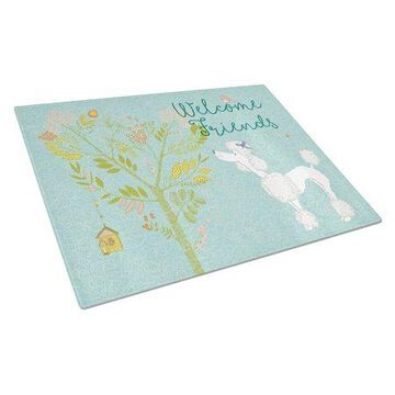 Caroline's Treasures Welcome Friends White Poodle Glass Cutting Board Large
