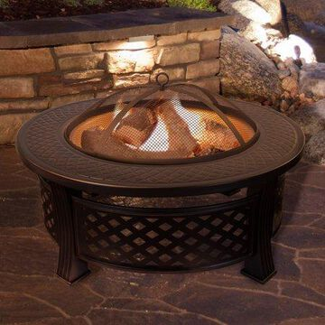 Fire Pit Set, Wood Burning Pit - Includes Spark Screen and Log Poker - Great for Outdoor and Patio, 32  Round Metal Firepit by Pure Garden