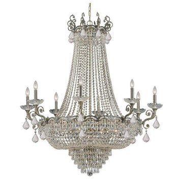 Crystorama Sold Cast Brass Ornate Crystal Chandelier