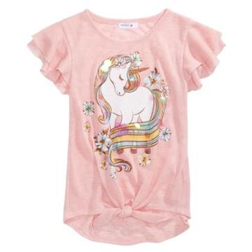 Beautees Big Girls Glitter Unicorn Flutter-Sleeve Top