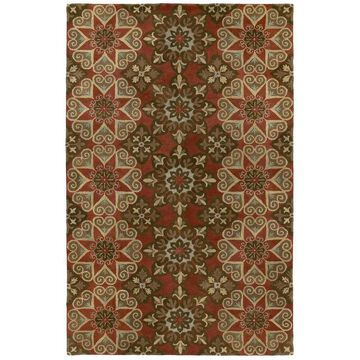 Kaleen Mystic 4 x 6 Salsa Indoor Floral/Botanical Oriental Handcrafted Area Rug Cotton in Red   6049-57-3653