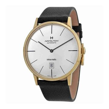 Hamilton Men's H38735751 'Intra-Matic' Automatic Black Leather Watch
