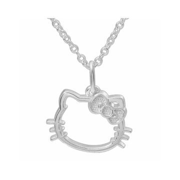 Hello Kitty Sterling Silver Outline Pendant Necklace