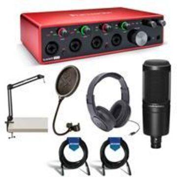 Focusrite Scarlett 18i8 3rd Generation USB Interface - Bundle With Samson SR350 Over-Ear Headphones, A-T AT2020 Cardioid Condenser Mic, Samson PS04 Pop Filter, Samson Mic Arm Stand, 2x 20' Mic Cable
