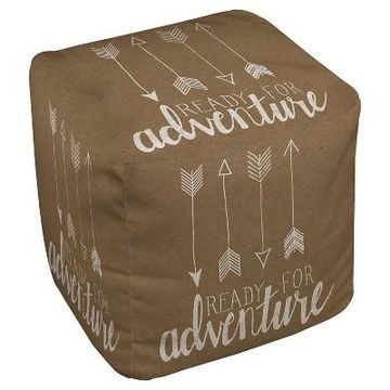 Taupe Brown Ready For Adventure Pouf (18