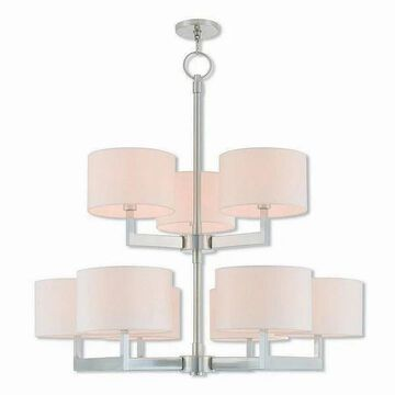 Livex Lighting 42409-91 Hayworth Brushed Nickel Steel 9-light Indoor Chandelier - Silver