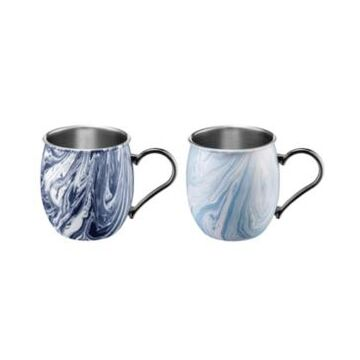 Thirstystone by Cambridge 20oz Navy and Light Blue Swirl Moscow Mule Mugs - Set of 2