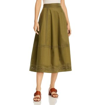 Elie Tahari Womens Daisy Skirt Embroidered Back Zip - Tuscan Olive