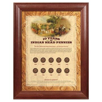American Coin Treasures Framed Indian Head Pennies (10 Years of Indian Head Pennies - Wood Frame)