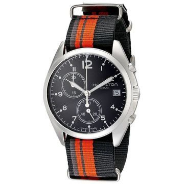 Hamilton Men's H76552933 'Khaki Aviation' Chronograph Automatic Orange and black Canvas Watch (Stainless Steel - 9 Inch - 100 Meters - Sapphire -