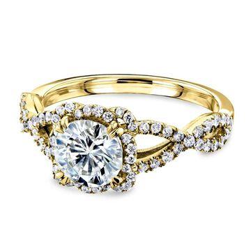 Annello by Kobelli 14k Gold Moissanite Fancy Halo Cross Split Shank Engagement Ring - Multiple Colors (5 - Rose)