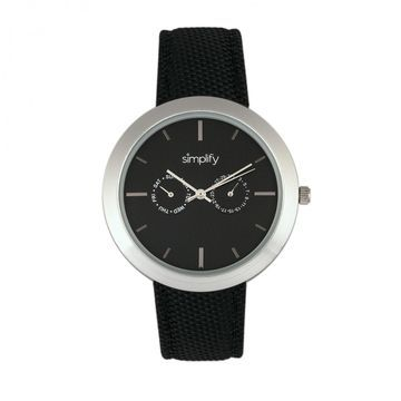 Simplify The 6100 Canvas Overlay Strap Watch - Black