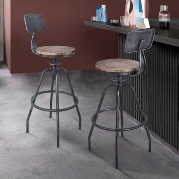 Armen Living Perlo Industrial Adjustable Barstool in Industrial Grey and Pine Wood