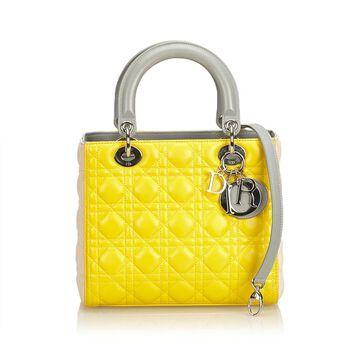 Dior Lady Dior Yellow Leather Handbags