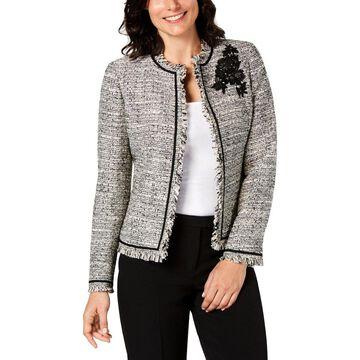 Kasper Womens Petites Tweed Jacket Embellished Business