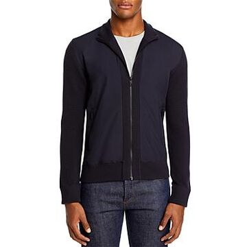 Z Zegna Hybrid Wool Full-Zip Sweater with Nylon Front