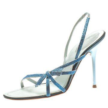 Rene Caovilla Blue Crystal Embellished Satin Open Toe Slingback Sandals Size 38