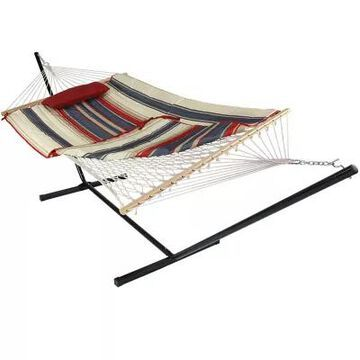Sunnydaze Striped Rope Hammock with Stand in Red Multi