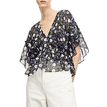The Kooples Floral Print Silk Blouse