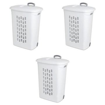 Sterilite, Ultra Wheeled Hamper, White, Case of 3