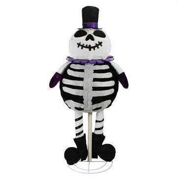 """39"""" LED Lighted Spooky Standing Skeleton Ghost Halloween Decoration By Northlight in White 