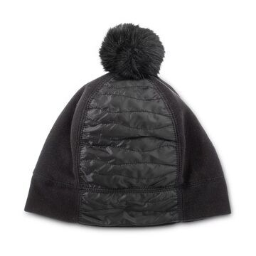 Women's isotoner Insulated Water Repellent Quilted Beanie with Faux Fur Pom