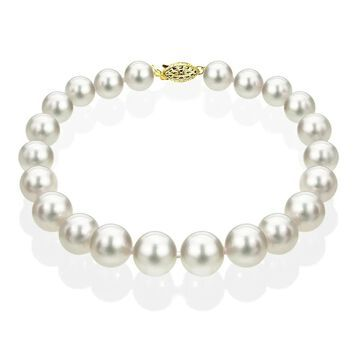 DaVonna 14k Yellow Gold 7.5-8 mm White Akoya Cultured Pearl Bracelet