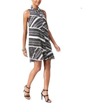 Alfani Womens Printed Shirt Dress