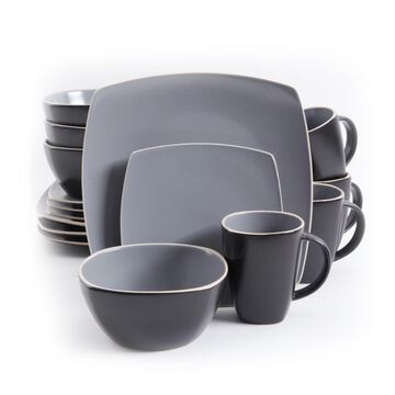 Gibson Soho Lounge Matte Grey and Black Stoneware 16-piece Dinnerware Set (Service for 4)