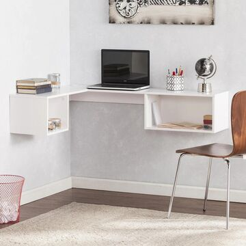 Freda Wall Mount Corner Desk - White (OS6016OH)