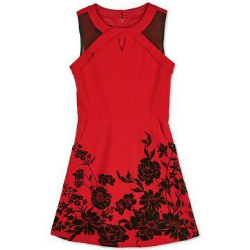Big Girls Crisscross Floral Flocked Dress